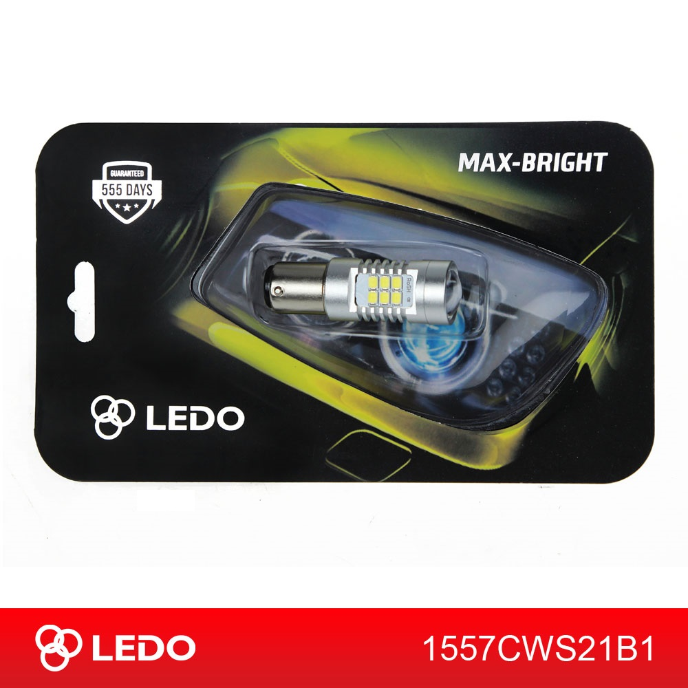 Лампа светодиодная P21/5W BA15D LEDO Max-Bright 21SMD линза 12V белая