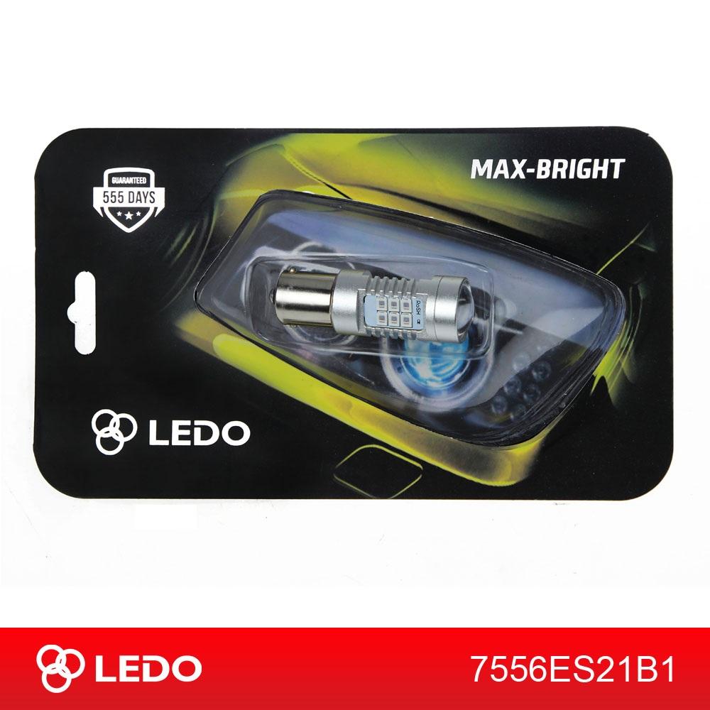 Лампа светодиодная P21W LEDO Max-Bright 21SMD линза 12V красная