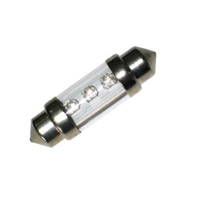 Лампа светодиодная C5W / SV8,5-8 / 12V 3LED 38мм c линзой крас
