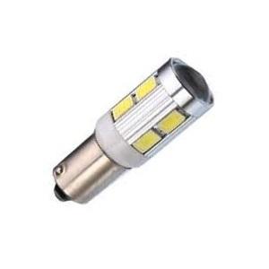 Лампа светодиодная T4W / BA9S / 12V 10SMD линза с обманкой