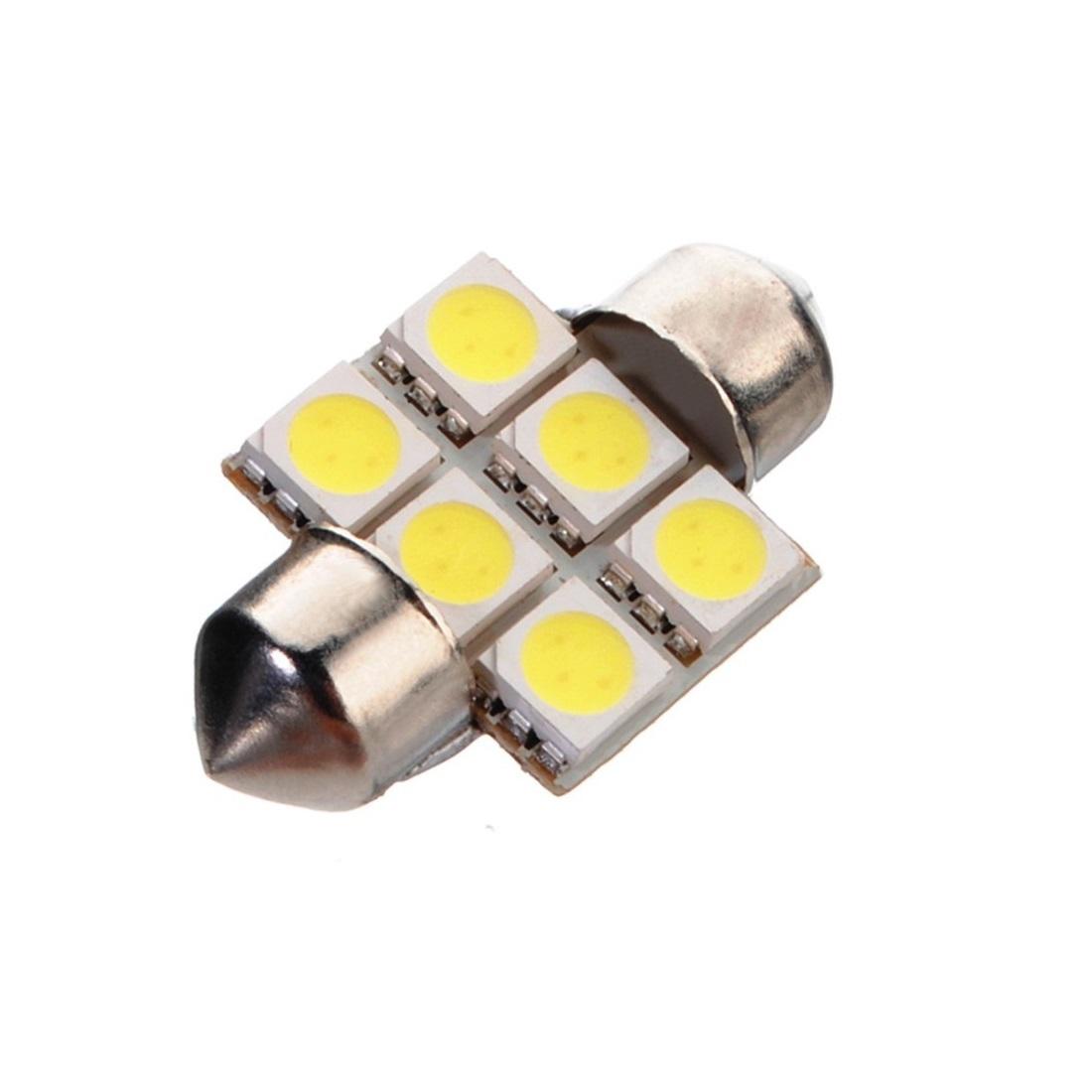 Лампа светодиодная C5W / SV8,5-8 / 12V 6SMD 31мм открытая бел