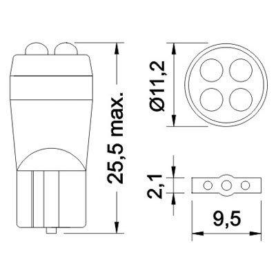 Лампа светодиодная W5W 12V 4LED монолит син