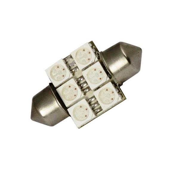 Лампа светодиодная C5W / SV8,5-8 / 12V 6SMD 31мм открытая син