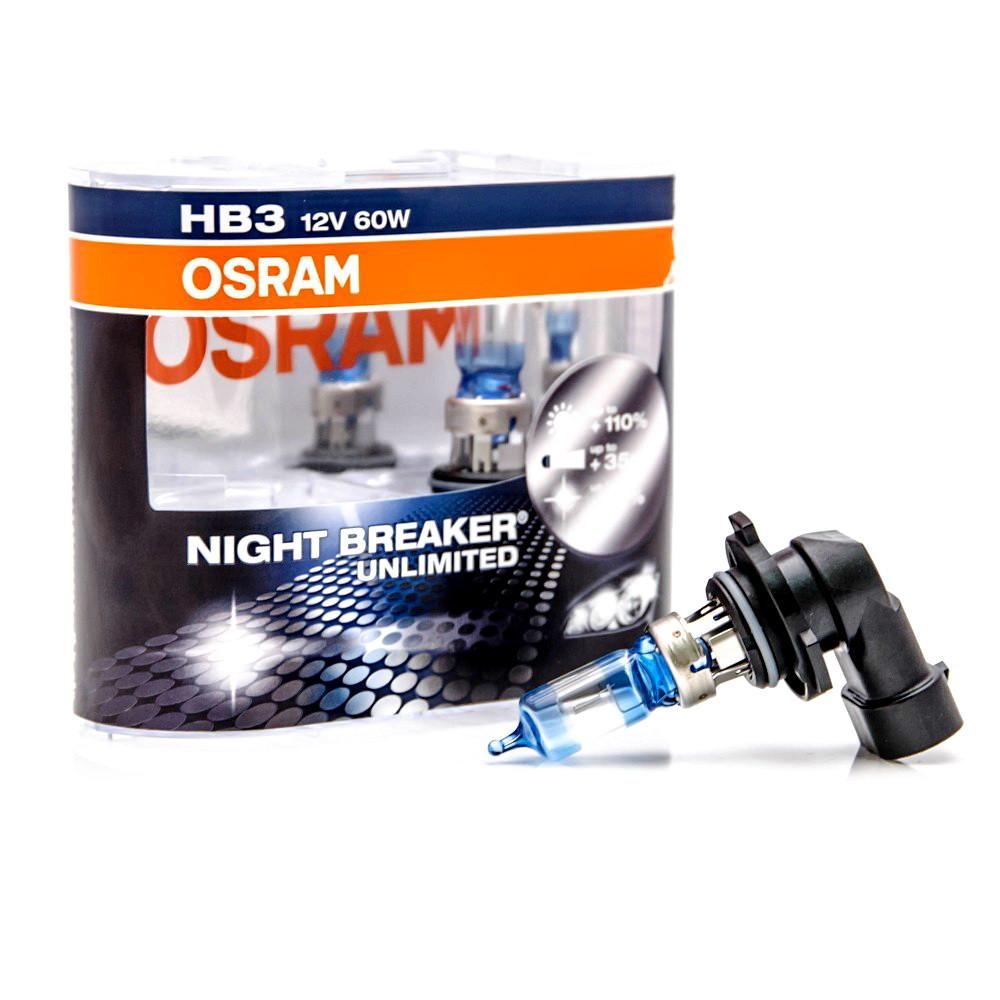 Автолампа HB3/9005 (60) P20d+110% NIGHT BREAKER UNLIMITED (евробокс, 2шт) 12V OSRAM