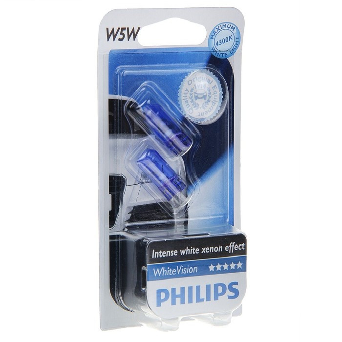 Автолампа W5W (W2.1*9.5d) WHITE VISION 4300K (блистер, 2шт) 12V PHILIPS