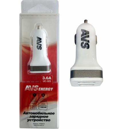 Автомобильное зарядное устройство USB  AVS  2 порта UC-323 (3,6А)