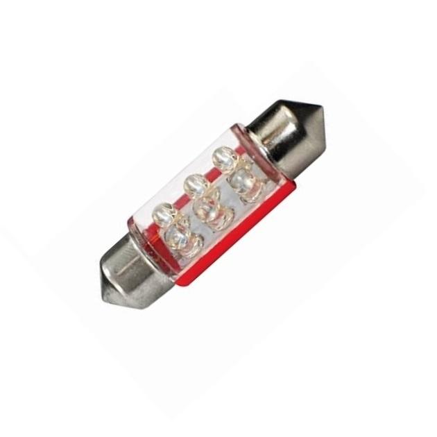 Лампа светодиодная C5W / SV8,5-8 / 12V 6LED 38мм c линзой крас
