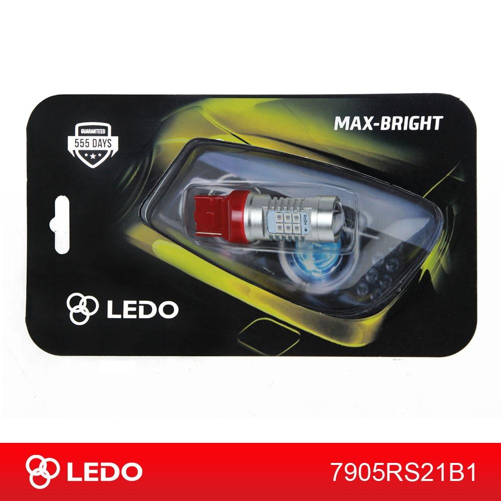 Лампа светодиодная W21W LEDO Max-Bright 21SMD линза 12V красная