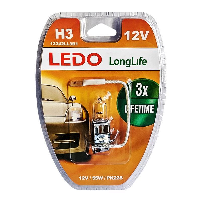 Лампа H3 LEDO LongLife 12V 55W блистер