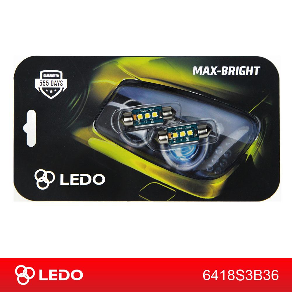 Лампа светодиодная C5W LEDO Max-Bright 36mm 3SMD Osram чип 12V