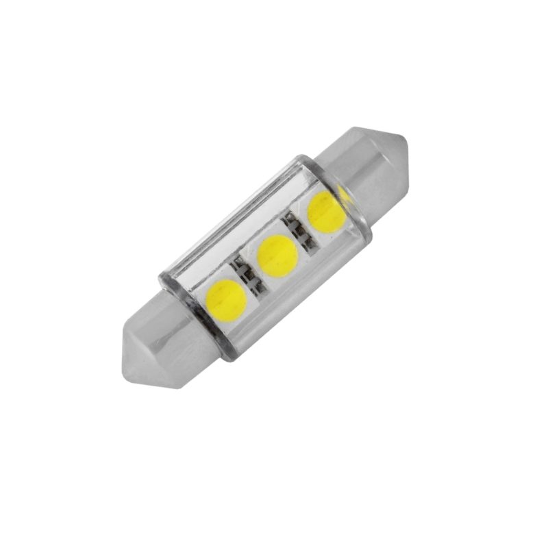 Лампа светодиодная C5W / SV8,5-8 / 12V  3SMD 38мм с линзой бел