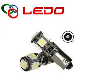 Лампа светодиодная H6W / BAX9S / 12V 5SMD бел. с обманкой