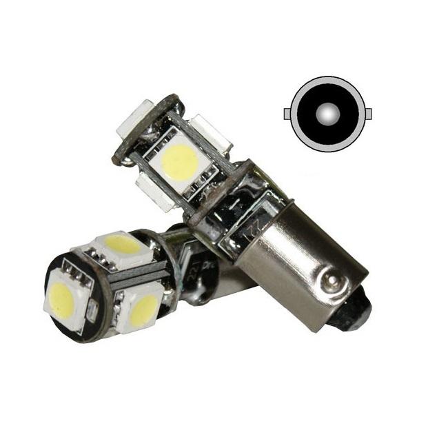 Лампа светодиодная T4W / BA9S 12V 5SMD белая с обманкой