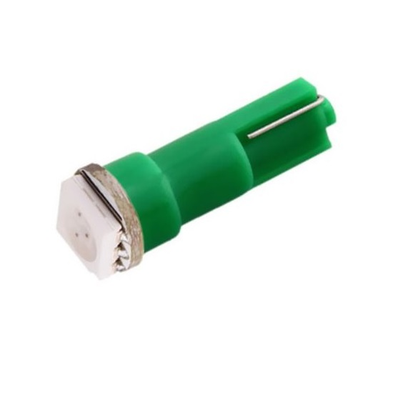 Лампа светодиодная W1.2W / T5 / W2.0x4.6d 12V 1SMD зеленая