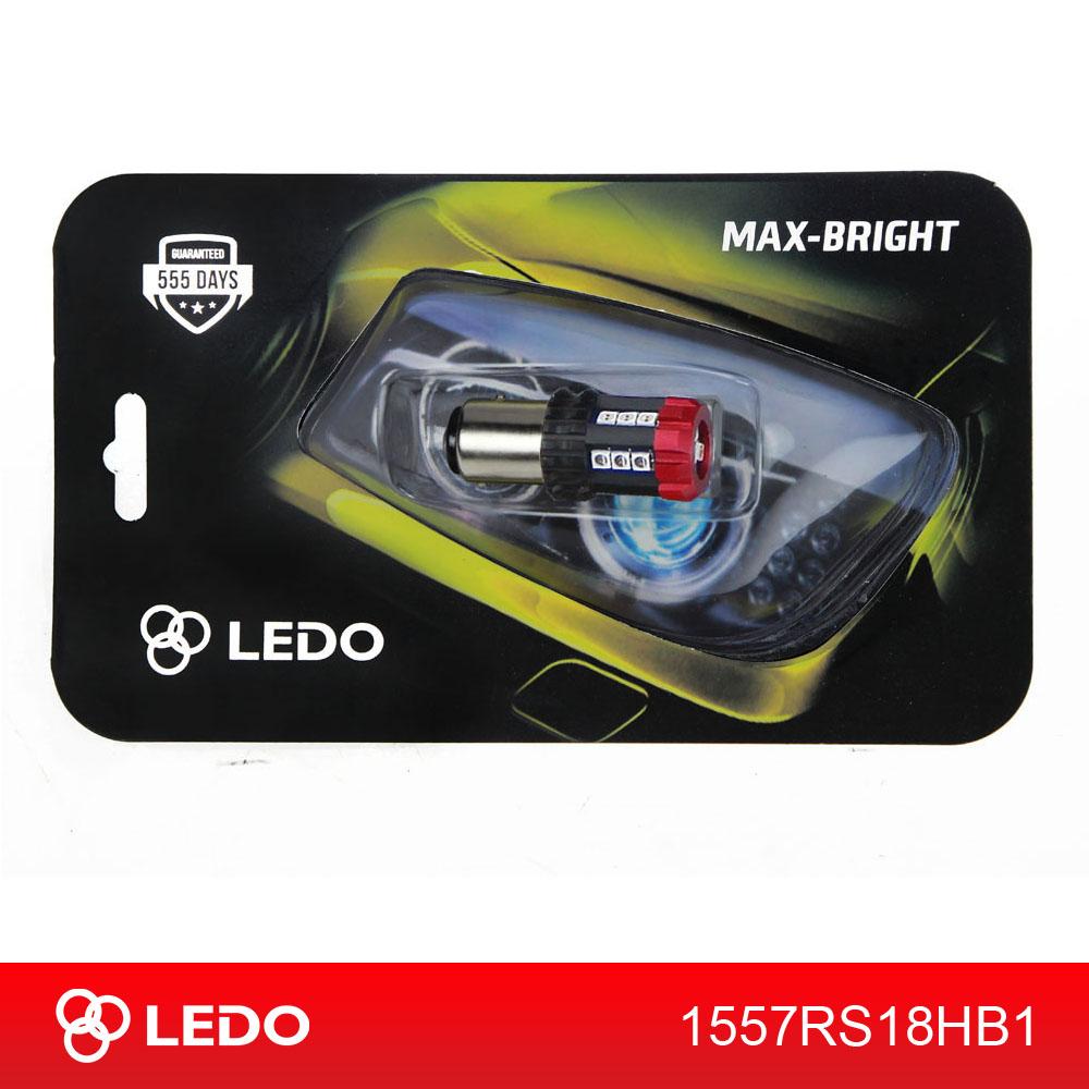 Лампа светодиодная P21/5W BA15D LEDO Max-Bright Hard 18SMD 12V-60V красная