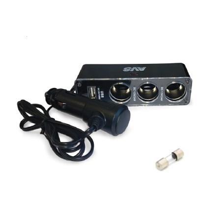 Разветвитель прикуривателя AVS 12/24 с удлинителем (на 3 выхода+USB) CS313U