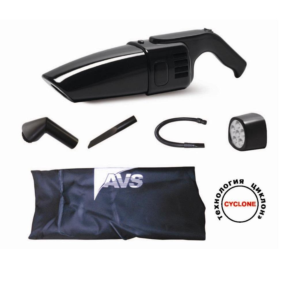 Пылесос автомобильный AVS Turbo 1010 (3 насадки,фонарик)