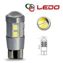 Лампа светодиодная W5W LEDO 12V 10SMD линза с обманкой