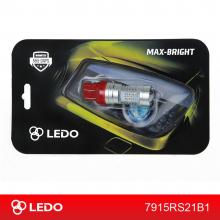 Лампа светодиодная W21/5W LEDO Max-Bright 21SMD линза 12V красная