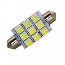 Лампа светодиодная C5W / SV8,5-8 / 12V 9SMD 39мм открытая бел