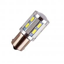 Лампа светодиодная P21W / BA15S 12V 12SMD + 5W Cree линза бел