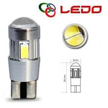 Лампа светодиодная W5W LEDO 12V 6SMD линза с обманкой