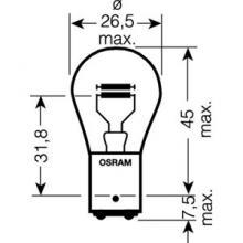 Автолампа P21/5W (BAY15d) 12V OSRAM