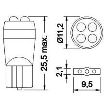 Лампа светодиодная W5W / T10 24V 4LED монолит белая